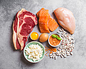 Protein-rich foods: meat, fish, poultry, eggs, cheese and legumes