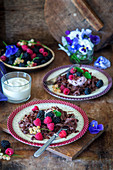 Chocolate pasta with berries