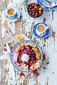 Galette with berries and vanilla ice cream