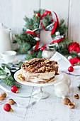 Cheesecake with chocolate and walnuts for Christmas
