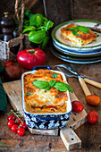 Lasagne with chicken and vegetables