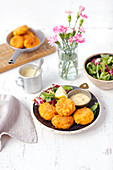 Lentil and carrot fritters with mayonnaise