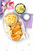 Breaded pork chops with chips