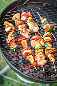 Meat and vegetable skewers on a charcoal barbecue