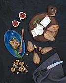 Gebratene Birnen, Ziegenkäse, Feigen, Honig und Walnüsse