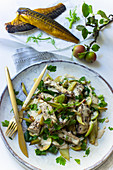 Mackrell fillets on a fennel and apple salad with parsley