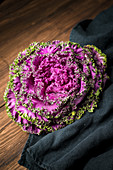 Purple cabbage on a wooden table