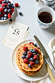Coconut pancakes with fresh berries