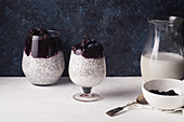 Chia pudding with coconut milk and blackberry smoothie (vegan)