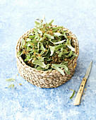 Lime flowers with leaves for tea in a basket