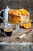 Orange jam and creame crepe cake