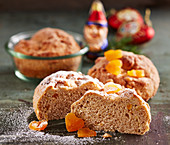 Small nut stollen cake baked in glasses