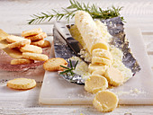 Raw and baked rosemary shortbread biscuits