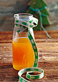 Homemade passion fruit syrup with vanilla