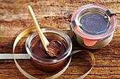 Homemade chocolate cream with hazelnuts in a mason jar (Christmas gifting)