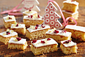 Ginger slices with icing and candied fruit