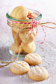 Lemon biscuits in a jar