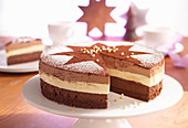 Tri-coloured chocolate mousse cake decorated with a cocoa star for Christmas