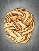 Plaited bread with chocolate and cinnamon, unbaked