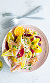 Chicory salad with smoked trout, beetroot and orange