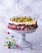 Gooseberry cake with grated chocolate