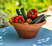 Fresh vegetables in a terracotta bowl on a table outside