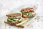 Wholemeal sandwiches with cheese and turkey breast