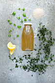 Woodruff syrup with ingredients: cane sugar, dried and fresh woodruff, lemon wedges