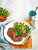 Chargrilled steak with corn and rocket salad