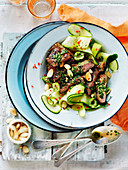 Pesto Lamb with Zucchini and Almond Salad