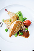 Spring chicken on a broad bean cream