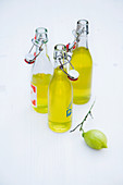 Limoncello in small glass bottles