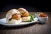 Vada Pav (bread rolls with fried potato balls, India)
