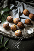 Quark balls on a vintage silver tray