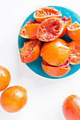 Moro blood oranges, whole and juiced