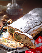 Quark stollen with a pistachio and marzipan filling