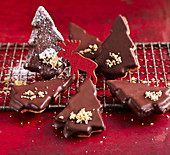 Walnut fir trees with marzipan and dark chocolate couverture
