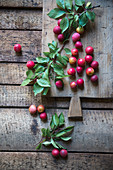 Cherry plums on a wooden table