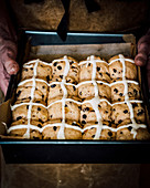 Hot cross buns ready for the oven
