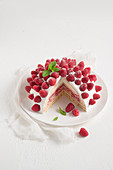 Raspberry zuccotto with creamy yoghurt