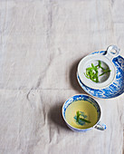 Herbal tissane in blue-and-white teacups