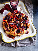 Berry and Tamarillo Croissant Pudding