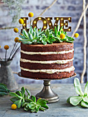 Coffee Mousse Layered Chocolate Naked Cake 'Love'