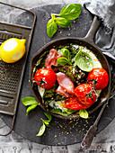 Silverbeet, Egg and Ham Tomato Bake