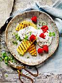 Grilled Pineapple with Yoghurt and Chia
