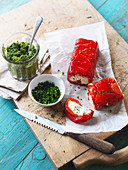 Roasted Capsicum and Goats Cheese Terrine with Pesto