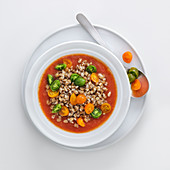 Cold barley soup with oven-roasted tomatoes