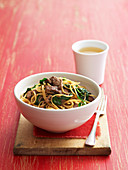 Lamb with Spinach and Rice Noodles Stir Fry