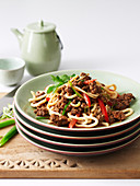 Stir Fried Udon Noodles with Beef and Tomato