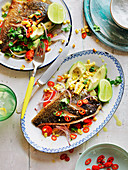 Fish Fillets with Grilled Corn Salad